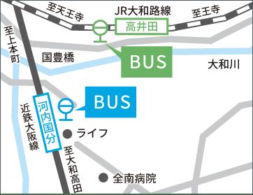 「高井田」「河内国分」駅前